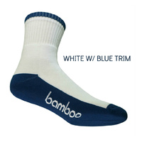 Bamboo Textiles [Size: 4-6] Sports Crew Socks White/Blue  image