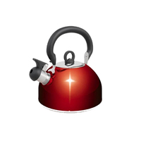 Campfire Stainless 2.5L Steel Whistling Kettle - Red