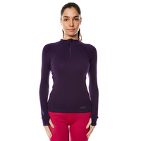 XTM Ladies Merino Zip Neck Long Sleeve Top 230gsm Blackberry [Size: 8] image