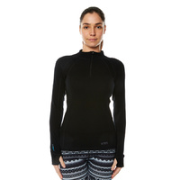 XTM Ladies Merino Zip Neck Long Sleeve Top 230gsm Black [Size: 10] image